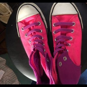 Converse Shoes - pink and purple hightop converse!